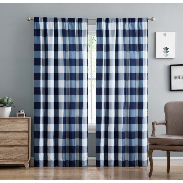 Navy Buffalo Plaid Curtains | Wayfair Within Classic Navy Cotton Blend Buffalo Check Kitchen Curtain Sets (View 27 of 30)