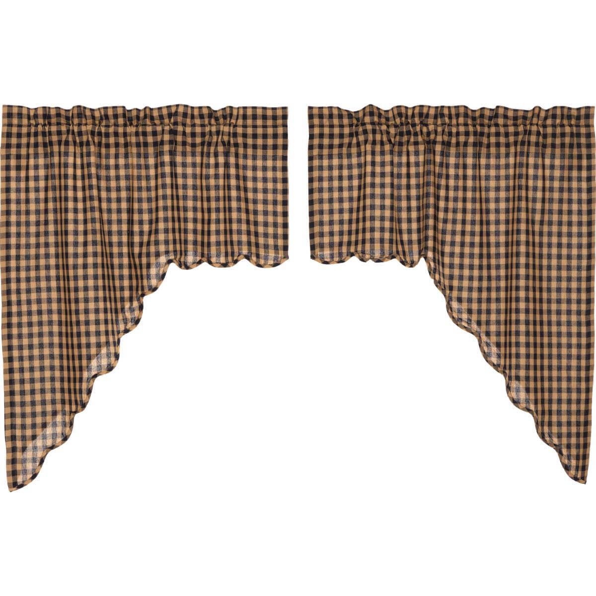 Navy Check Scalloped Swag Set Of 2 36X36X16 Within Check Scalloped Swag Sets (View 25 of 30)