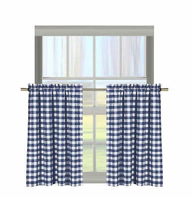 """Navy Gingham Check Kitchen Curtain Cafe/tier Set: Cotton Rich, 29""""w X 36""""h  Each 