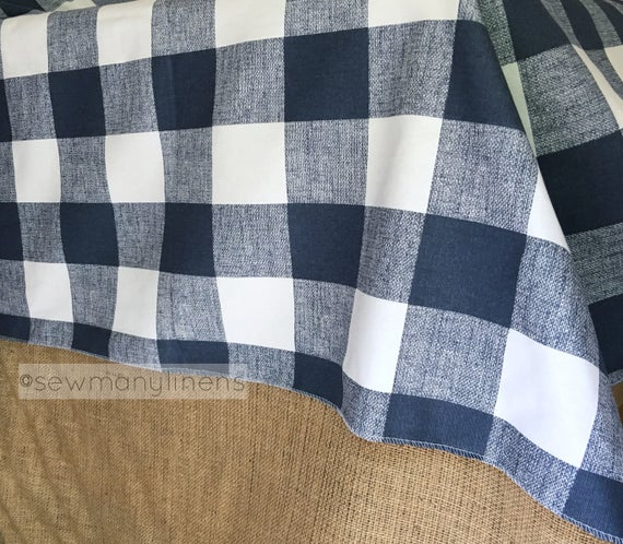 Navy Plaid Tablecloth Table Cover Buffalo Check Table Cloth Overlay Navy  Blue Farmhouse Rustic Classic Home Decor Dining Room Linens With Classic Navy Cotton Blend Buffalo Check Kitchen Curtain Sets (View 29 of 30)