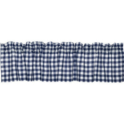 """Navy & White Cotton Rich Kitchen Window Valance Gingham Check Design,  56""""wx15""""l 841643140834 