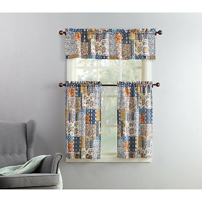 New 3 Piece Kitchen Curtain And Valence Set Amelia Throughout Solid Microfiber 3 Piece Kitchen Curtain Valance And Tiers Sets (#33 of 50)