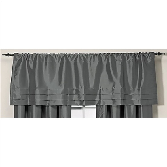 New Argentina 3 Tier Valance Dark Gray Peacock Nwt Throughout Cotton Blend Grey Kitchen Curtain Tiers (View 37 of 47)