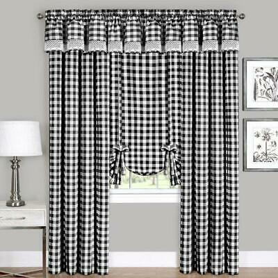 "New Black & White Buffalo Check Valance Curtain 58"" X 14 Inside Class Blue Cotton Blend Macrame Trimmed Decorative Window Curtains (View 21 of 30)"