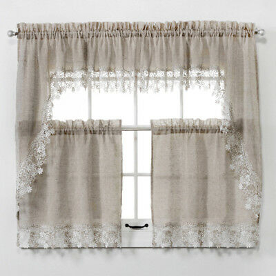 New Lillian Faux Linen Kitchen Curtain With Macrame Trim – Macrame Curtains  9780784704646 | Ebay With Regard To Bermuda Ruffle Kitchen Curtain Tier Sets (View 31 of 50)