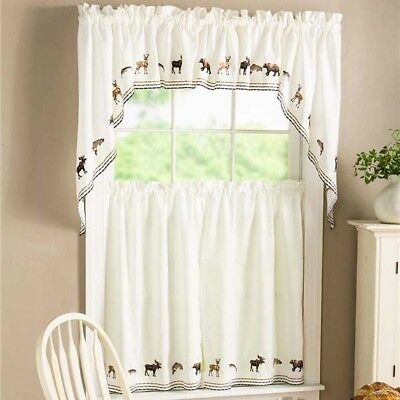 New Lodge Embroidered Wildlife Kitchen Curtain – Tier Pairs, Valance Or  Swag Pr | Ebay For Floral Embroidered Sheer Kitchen Curtain Tiers, Swags And Valances (View 34 of 50)