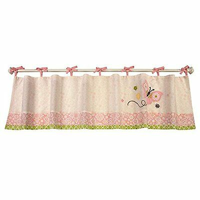 New Nojo Pink Butterfly Love Embroidered Window Valance Tie Top Floral  85214089683 | Ebay Intended For Embroidered Ladybugs Window Curtain Pieces (View 28 of 50)