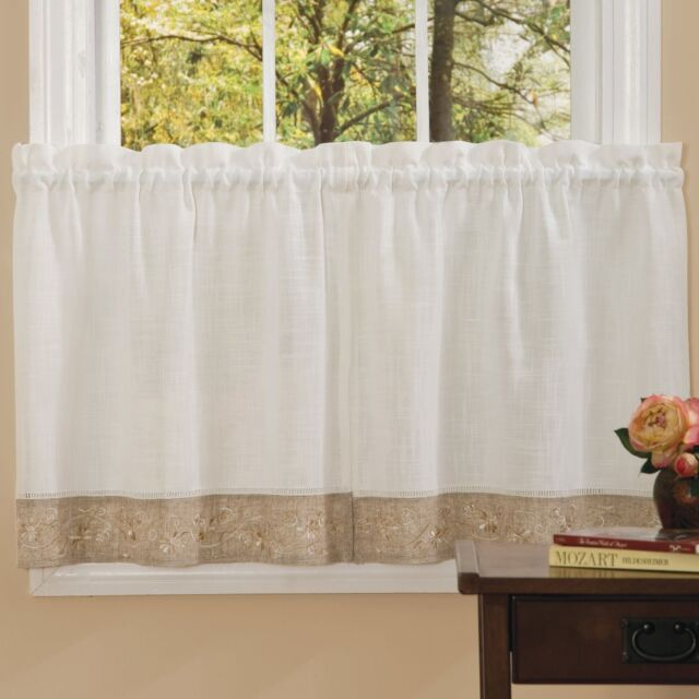 New – Oakwood Embroidered Linen Style Kitchen Curtain Window Curtain Inside Oakwood Linen Style Decorative Curtain Tier Sets (View 3 of 30)