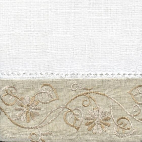 New – Oakwood Embroidered Linen Style Kitchen Curtain Window Curtain Within Oakwood Linen Style Decorative Curtain Tier Sets (View 17 of 30)