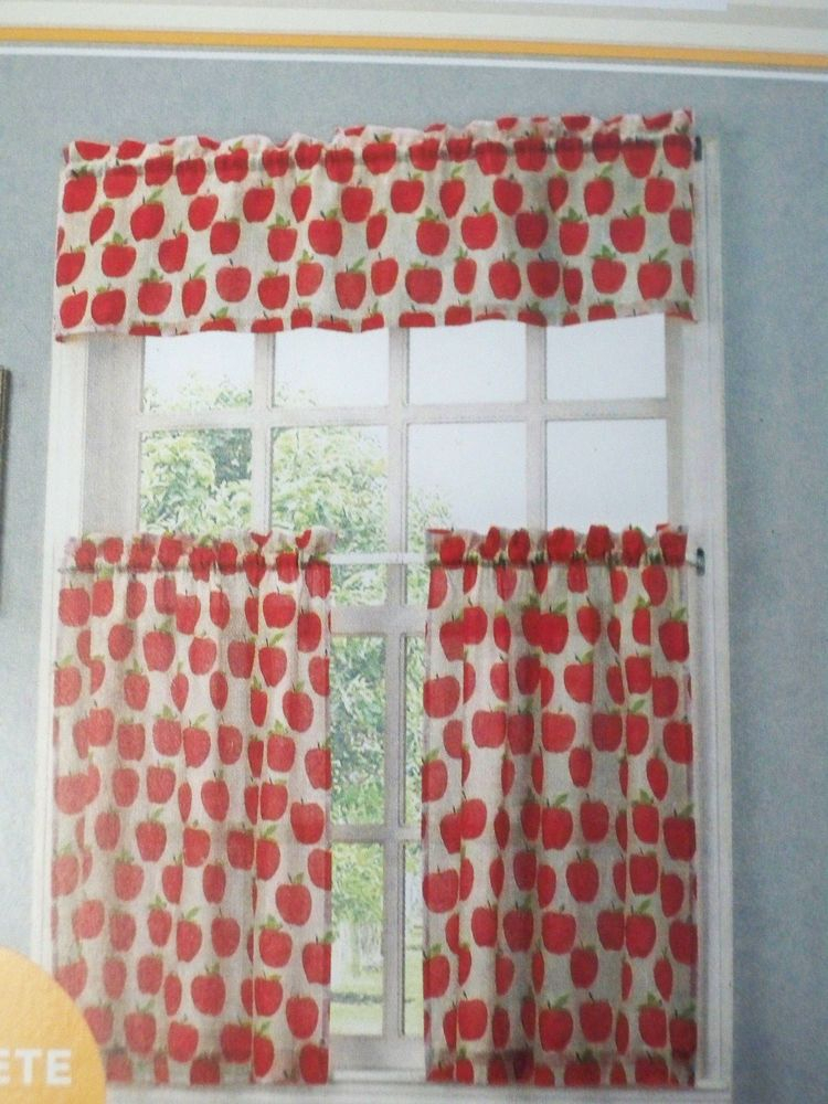 New Orchard Apple Print Tier And Valance Set Kitchen In Delicious Apples Kitchen Curtain Tier And Valance Sets (View 3 of 30)