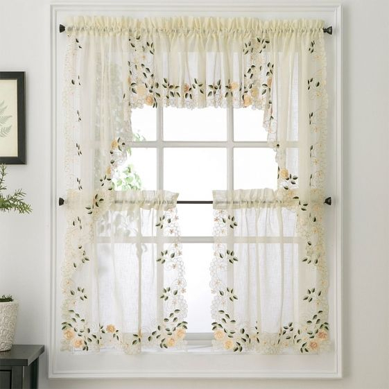 New – Rosemary Floral Kitchen Tier Curtain | Ebay For Hopscotch 24 Inch Tier Pairs In Neutral (View 15 of 30)