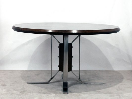 Newest Chapman Round Marble Dining Tables With Round Mid Century Walnut Dining Table With Nickel Plated Feetjordi  Vilanova (#16 of 30)