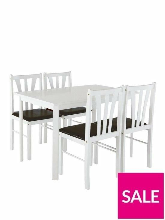 Newest Martino Dining Tables Regarding Brand New White Martino 111Cm Dining Table + 4 Chairs (#17 of 30)
