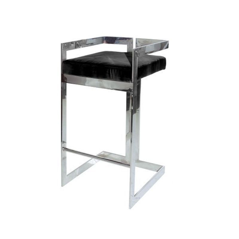Newest Worlds Away Hearst Bar Stool In Nickel And Black Velvet Intended For Hearst Bar Tables (View 6 of 20)