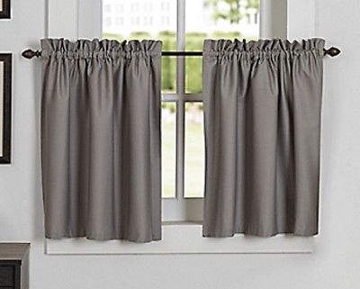 Newport Rod Pocket Kitchen Window Curtain Tier In Grey | Ebay Within Twill 3 Piece Kitchen Curtain Tier Sets (View 5 of 42)