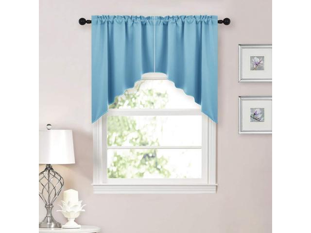 Nicetown Blackout Kitchen Tier Curtains  Tailored Scalloped Valance/swags  For Living Room (Teal Blue, 2 Pieces, 36 Inch X 36 Inch Each Panel) – For Tailored Valance And Tier Curtains (View 25 of 50)