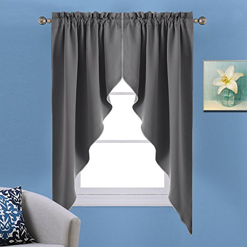 Nicetown Blackout Window Treatment Kitchen Tier Curtains  Tailored  Scalloped Valance/swags (One Pair, 3663 Inch Each Panel, Grey) With Tailored Valance And Tier Curtains (View 26 of 50)