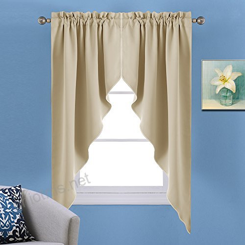 Nicetown Room Darkening Kitchen Tier Curtains  Tailored Within Tailored Valance And Tier Curtains (#28 of 50)