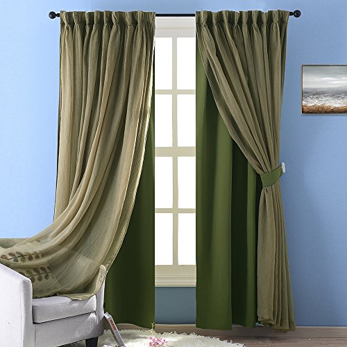 Nicetown Stylish Mix & Match Elegance Sage Crushed Voile X Inside Elegant Crushed Voile Ruffle Window Curtain Pieces (View 28 of 45)
