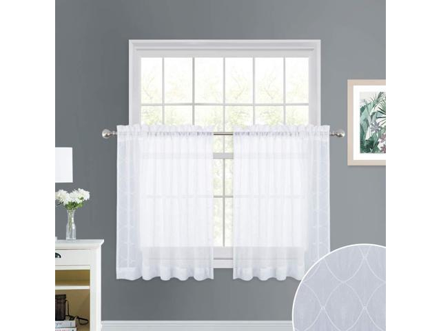 Nicetown Trellis Embroidered Sheer Valances – Crushed Geometric Embroidery  Rod Pocket Voile Tier Curtain Panels For Window Treatment, Kitchen, With Embroidered Rod Pocket Kitchen Tiers (View 29 of 49)