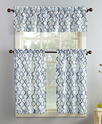 Popular Photo of Geometric Print Microfiber 3 Piece Kitchen Curtain Valance And Tiers Sets