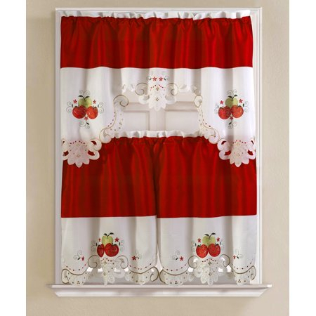 Noble Embroidered Apple Tier And Valance Kitchen Curtain Set With Delicious Apples Kitchen Curtain Tier And Valance Sets (View 2 of 30)