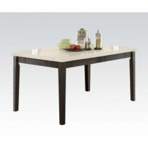 Nolan Round Pedestal Dining Tables For Popular Acme Nolan Rectangular Dining Table In White Marble (#14 of 30)