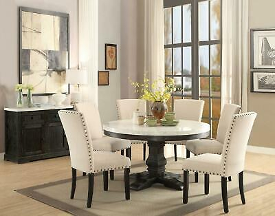 Nolan Round Pedestal Dining Tables Within Widely Used White Marble Top Black Round Dining Table Set 5 Pcs Acme (#18 of 30)