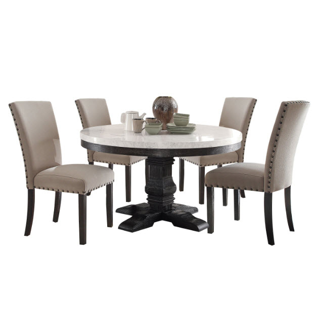 Nolan Round White Marble Top Dining Table Inside Widely Used Nolan Round Pedestal Dining Tables (#19 of 30)