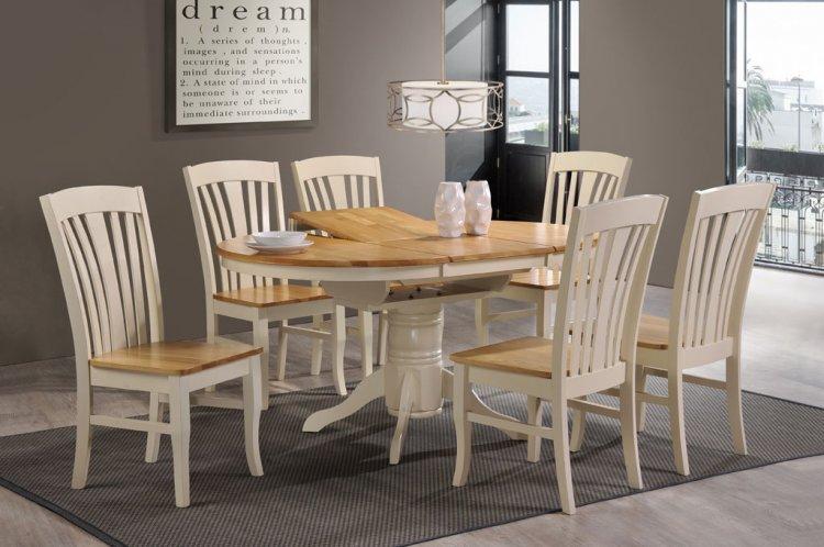 Normandy Extending Dining Set 6 Chairs – Cream & Oak In Recent Normandy Extending Dining Tables (#19 of 30)