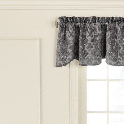 Normandy Scalloped Blackout Window Valance Pewter/trellis In Trellis Pattern Window Valances (#17 of 30)