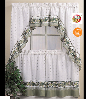 """Nos Designables Decordesign Ivy Tier Curtains Blue 60"""" W With Regard To Cottage Ivy Curtain Tiers (#43 of 49)"""