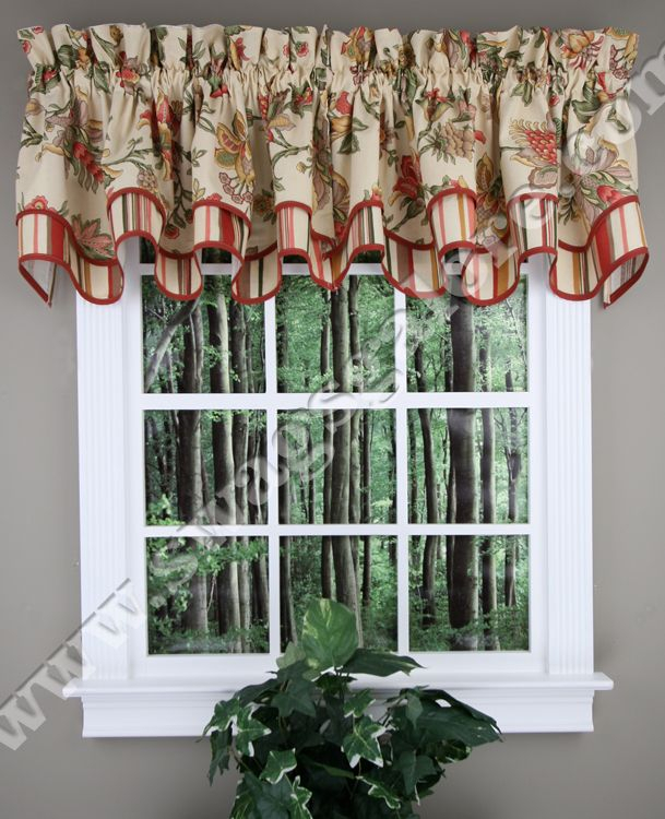 Nottingham Is A Beautiful Jacobean Printed Layered Valance For Imperial Flower Jacquard Tier And Valance Kitchen Curtain Sets (View 7 of 46)