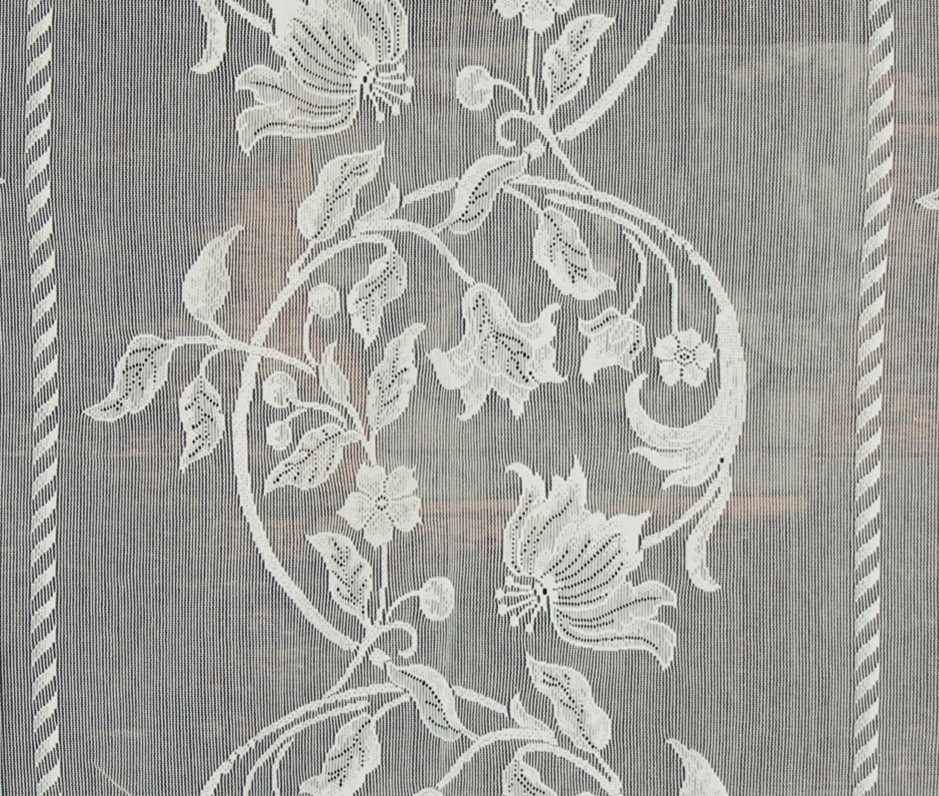Nottingham Lace Curtain Fabric Floral Ivory Art Nouveau, Standard Cut With Regard To Country Style Curtain Parts With White Daisy Lace Accent (View 43 of 50)