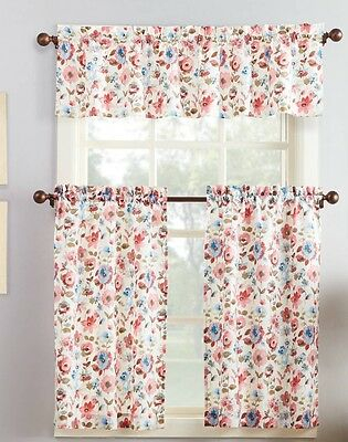 Nwt Floral Blue Aqua Turquoise Kitchen Window Curtains Set Pertaining To Floral Watercolor Semi Sheer Rod Pocket Kitchen Curtain Valance And Tiers Sets (View 32 of 50)