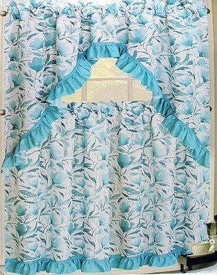 Nwt Floral Blue Aqua Turquoise Kitchen Window Curtains Set Pertaining To Floral Watercolor Semi Sheer Rod Pocket Kitchen Curtain Valance And Tiers Sets (View 31 of 50)