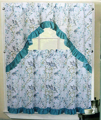 Nwt Floral Blue Aqua Turquoise Kitchen Window Curtains Set Throughout Floral Watercolor Semi Sheer Rod Pocket Kitchen Curtain Valance And Tiers Sets (View 33 of 50)