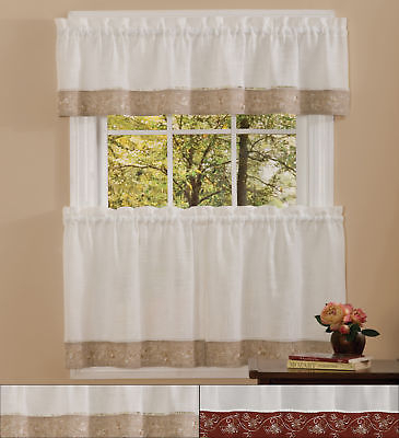 Popular Photo of Oakwood Linen Style Decorative Curtain Tier Sets