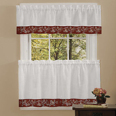 Oakwood Linen Style Kitchen Window Curtains Tiers Or Valance Burgundy | Ebay Pertaining To Oakwood Linen Style Decorative Curtain Tier Sets (View 2 of 30)