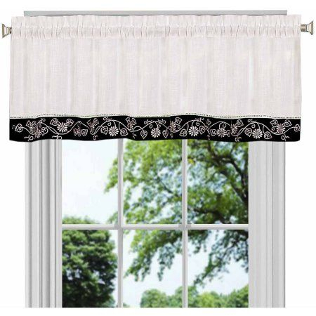Oakwood Valance Available In Multiple Colors, Black With Oakwood Linen Style Decorative Curtain Tier Sets (View 4 of 30)