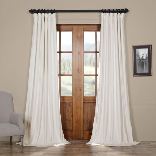 Off White Blackout Velvet Pole Pocket Single Panel Curtain, 50 X 84 Throughout Linen Stripe Rod Pocket Sheer Kitchen Tier Sets (#31 of 46)