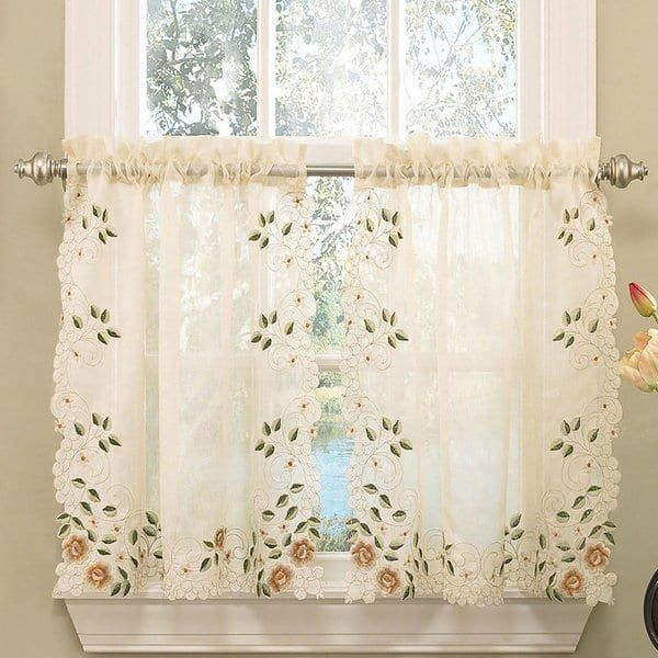 Popular Photo of Floral Embroidered Sheer Kitchen Curtain Tiers, Swags And Valances