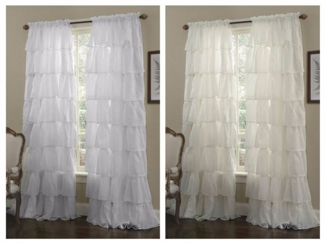 "One Panel Crushed Voile Sheer Shabby Chic Ruffle Window Curtain Up To 120""l Within Elegant Crushed Voile Ruffle Window Curtain Pieces (View 32 of 45)"
