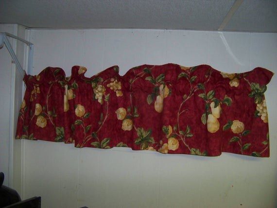 One Waverly Mistral Valance Red 17X72 Regarding Waverly Felicite Curtain Tiers (#14 of 45)
