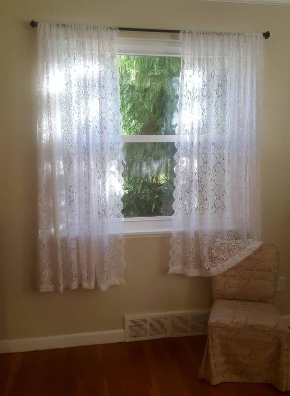 One White Floral Lace Valance Or Curtains – Daisy Curtains – Flower Curtain  – Custom Drapery Valances – Elegant Laces – Sheer Kitchen Tiers Within Floral Lace Rod Pocket Kitchen Curtain Valance And Tiers Sets (View 36 of 50)