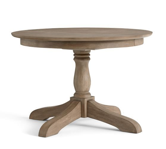 Owen Extending Pedestal Dining Table, Weathered Gray Throughout Most Current Gray Wash Lorraine Extending Dining Tables (#18 of 20)