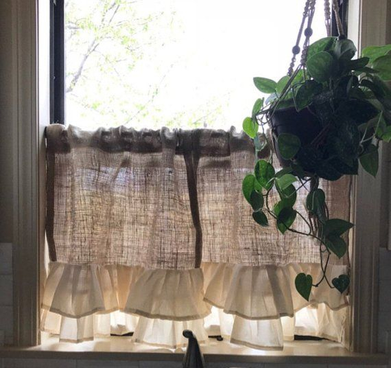 "Pair"" Natural Burlap Country Farmhouse Cafe Curtain With With Rod Pocket Cotton Striped Lace Cotton Burlap Kitchen Curtains (View 16 of 30)"