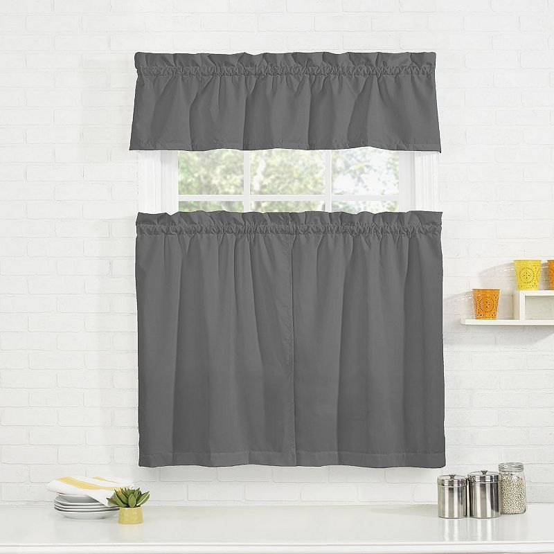 Pairs To Go Cadenza Microfiber Tier & Valance Kitchen Window In Grey Window Curtain Tier And Valance Sets (View 39 of 50)