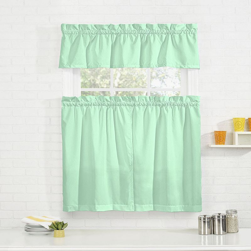 Pairs To Go Cadenza Microfiber Tier & Valance Kitchen Window In Microfiber 3 Piece Kitchen Curtain Valance And Tiers Sets (View 7 of 30)