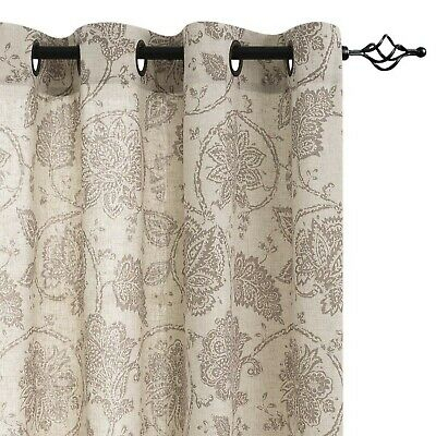 Paisley Scroll Printed Linen Curtains, Grommet Top Within Pastel Damask Printed Room Darkening Kitchen Tiers (#32 of 50)